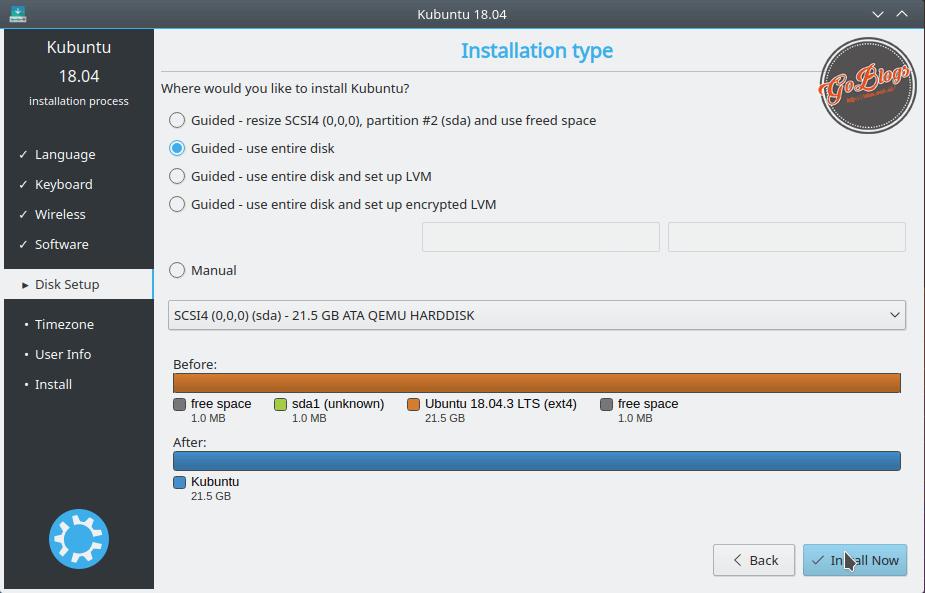 Install Kubuntu 18.04 Partition Table