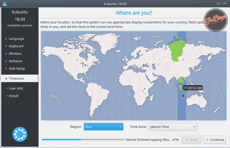 Install Kubuntu 18.04 Location