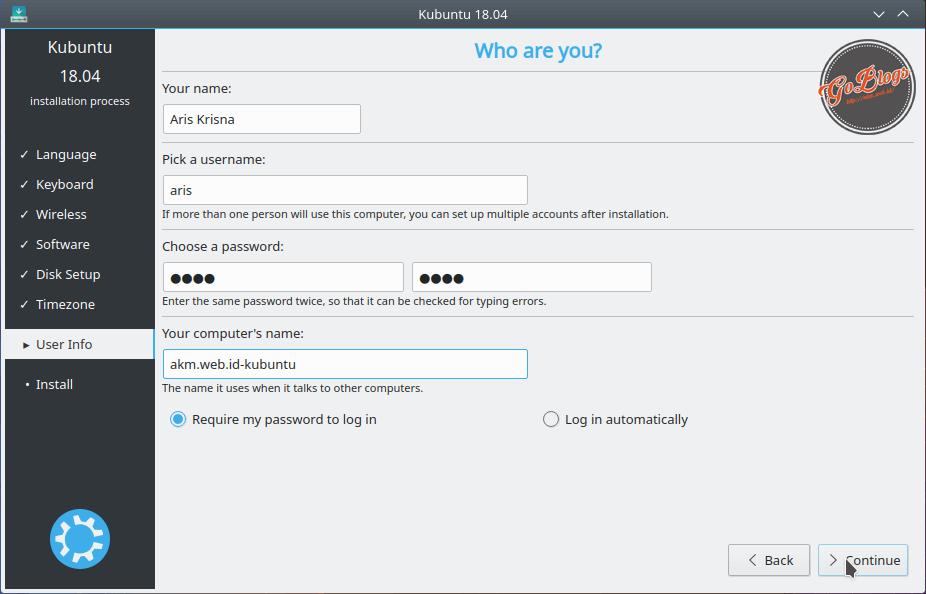Install Kubuntu 18.04 Identitas